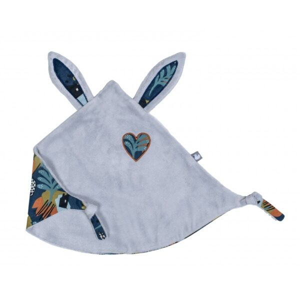 doudou lapin petit coeur gris clair imprime savane bbco