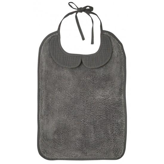 grand bavoir bambou et gaze de coton gris bbco